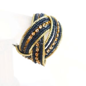 Navy and Gold Toned Beaded Twist Bangle